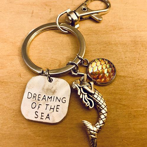 Mermaid Dreaming of the Sea Key Ring