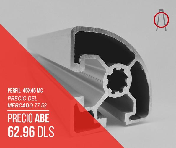 Perfil de Aluminio 45x45 MEDIA CAÑA Abe Trade So