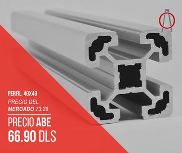 Perfil de Aluminio 40x40 Abe Trade Solut