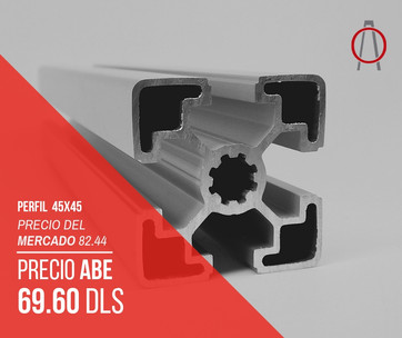 Perfil de Aluminio 45x45 Abe Trade Solut