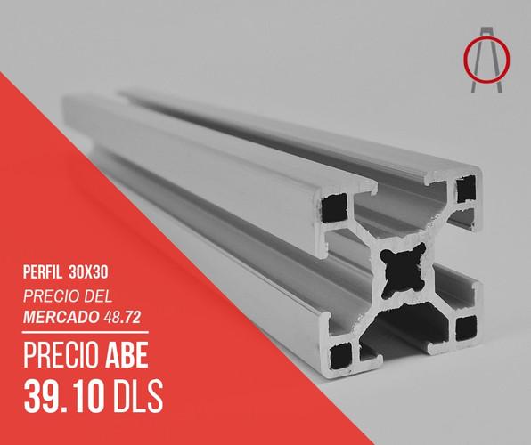 Perfil de Aluminio 30x30 Abe Trade Solut