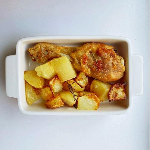 Coscetta di pollo al forno con patate