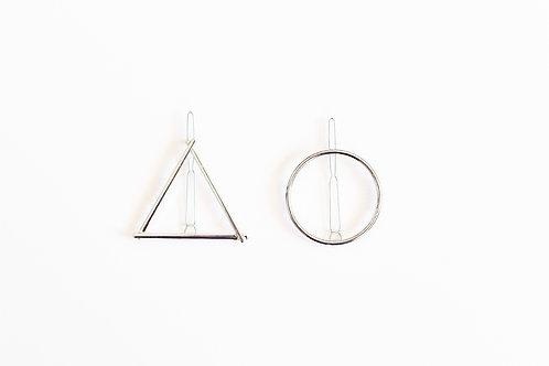 Triangle and Circle Pin Set - Silver