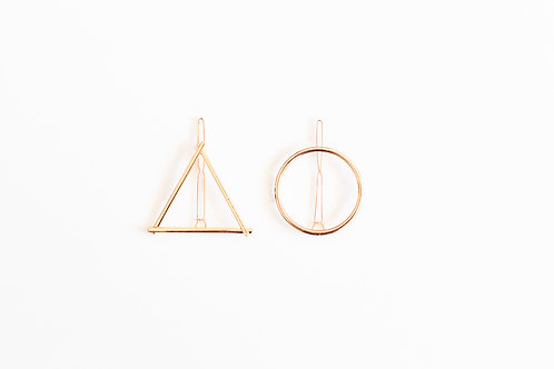Triangle and Circle Pin Set - Gold