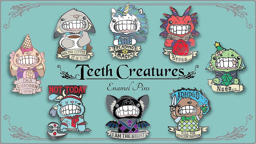 Teeth Creature Pins Kickstarter by Cody Vrosh