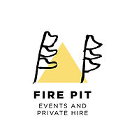 A Fire Pit Camp logo - a yellow triangle with festival flags to promote camp's events and hire