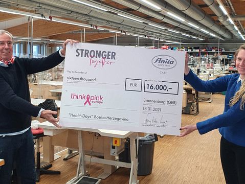 "ANITA CARE SPENDET 16.000 EURO AN THINK PINK-PROJEKT ""HEALTH DAYS"""