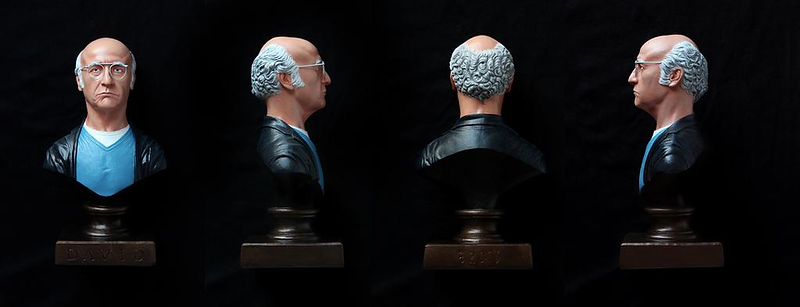 Larry David painted bust sculpture