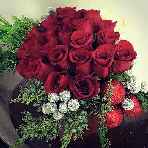 Bespoke Red rose Holiday Flower Arrangement