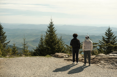 Two friends on the summit of Mount Mitchell in North Carolina