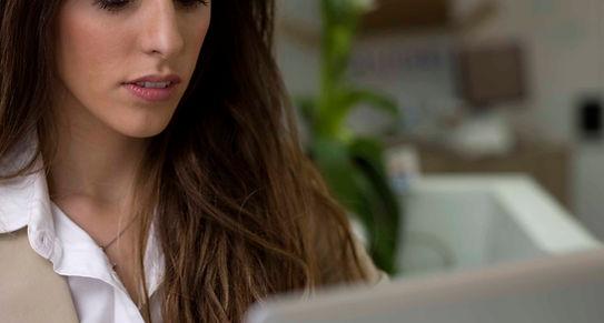 Woman creating billing information