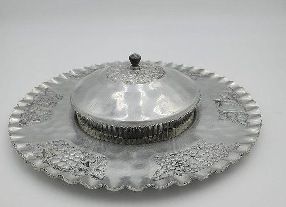 Vintage Hammered 3pc Serving Plate