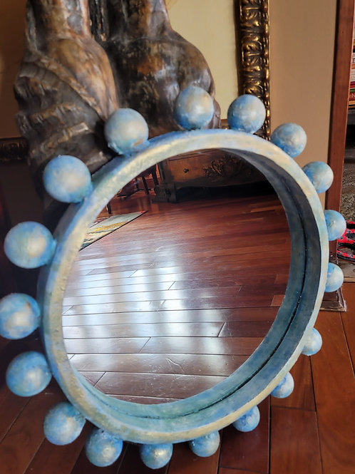 Blue Hand Painted Textured Mirror