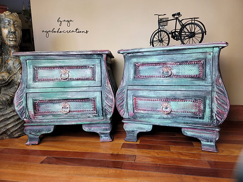 Green Floral End Tables