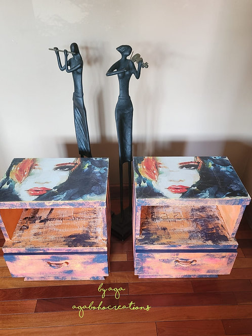 Neon Orange and Blue End Tables