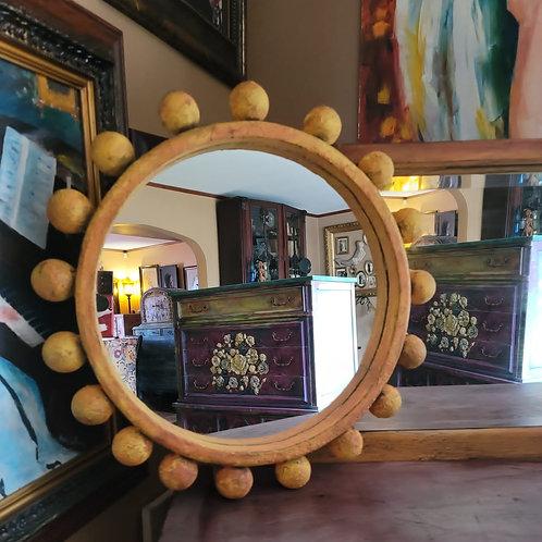 Orange Hand Painted Textured Mirror