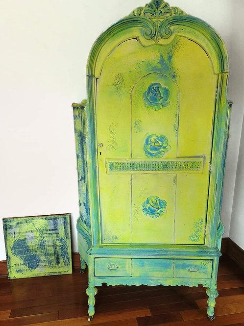 Neon Yellow Vintage Armoire