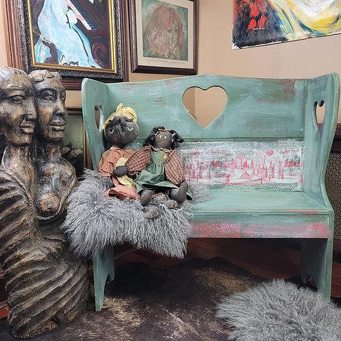 Vintage Schoolhouse Heart Bench