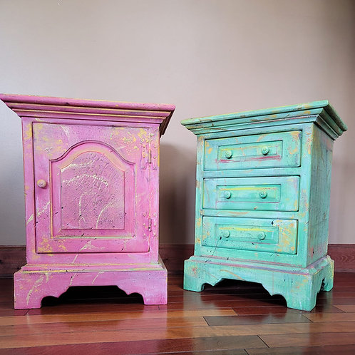 Pair of Colorful Bohemian End Tables
