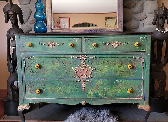 Green and Purple Dresser with Mirror