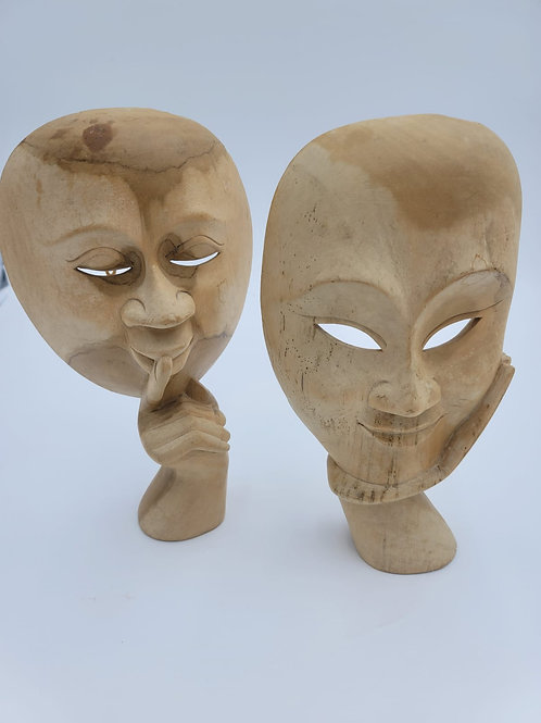 Pair of Wooden Face Masks