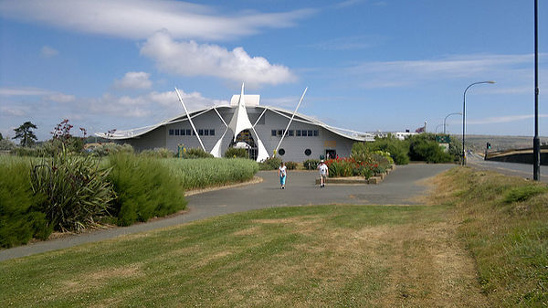 Dinosaur Isle attraction in Sandown Isle of Wight in a purpose built building shaped like a Pterosaur  dinosaur