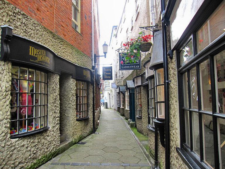 Watchbell Lane in Newport town centre.