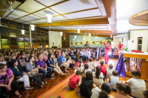 Gloria Polo pictured speaking to large crowds in Sydney, last month, as part of her national speaking tour for Parousia Media. PHOTO: Giovanni Portelli