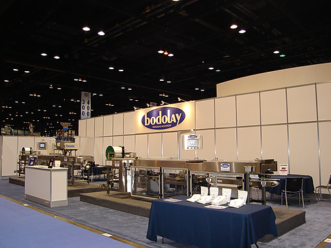 Bodolay Packaging at the PackEXPO show in Chicago with two bagging machines that are zipper bag machines