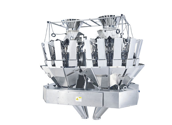 A Large mixing weigher with two separate filling zones and hopper buckets.