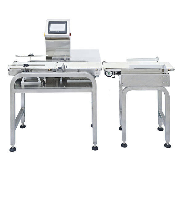 A long check weigher with rection arms that is separated from the weighing station.