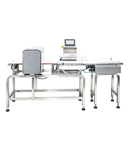 A check weigher and metal detector that have been combined as one machine and has rejection arms to remove un-wanted products.