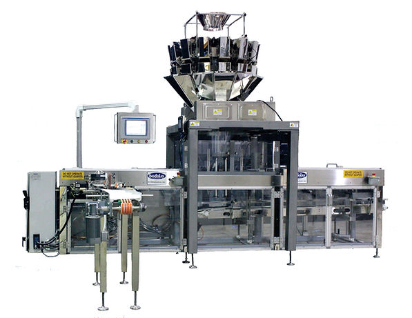 A Bodolay pre-made bag machine that fill and seals bags with a multi head scale and stand that sits over the center of the machines filling station.
