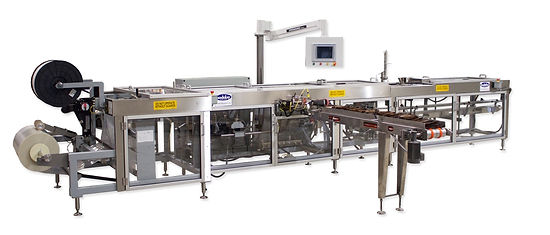 A Bodolay hybrid machine that has a separte form fill and seal area as well as a conveyor that draws pre-made bags into the machine.