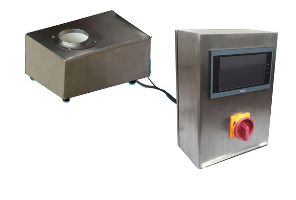 A box drop metal detector that senses metal in products such as grains and powders.