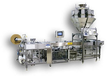 A Bodolay cg - 120 packaing machine with a yamato scale and custom made scale that is situated over the rear of the machine.