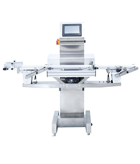 A bodolay check weigher that has a the check weighing system in the middle and at the end an air blowing rejection system.