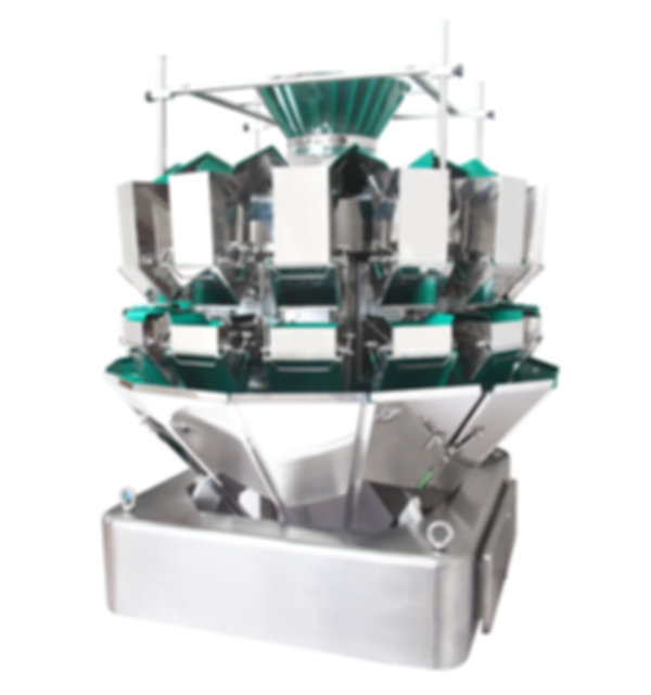 A hardware weigher that has a protective cover over the pans to protect the machine and to help the hardware move alone the weigher.
