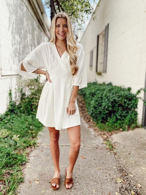 Moon River White Wrap Dress