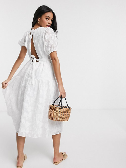 Moon River Crinkle Midi Dress