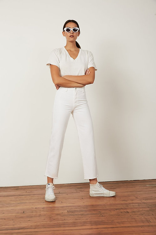 Boyish High Waisted White Jean