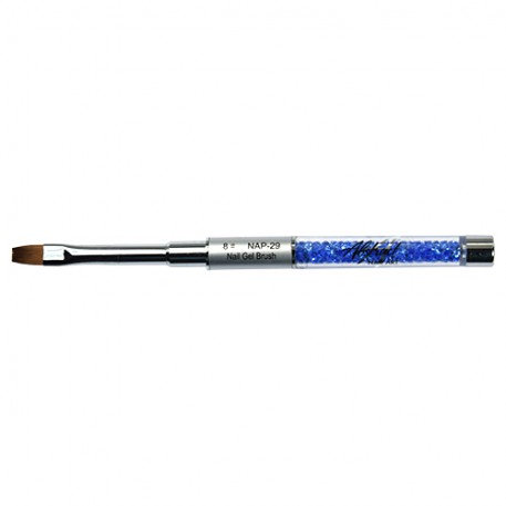 Gel Brush Flat #8 Blue Crystals Handle | Abstract