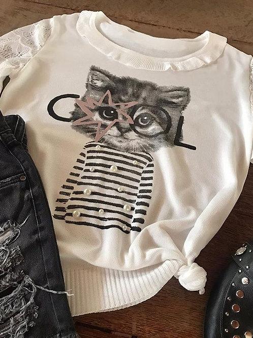 Blusa em Tricot Cat