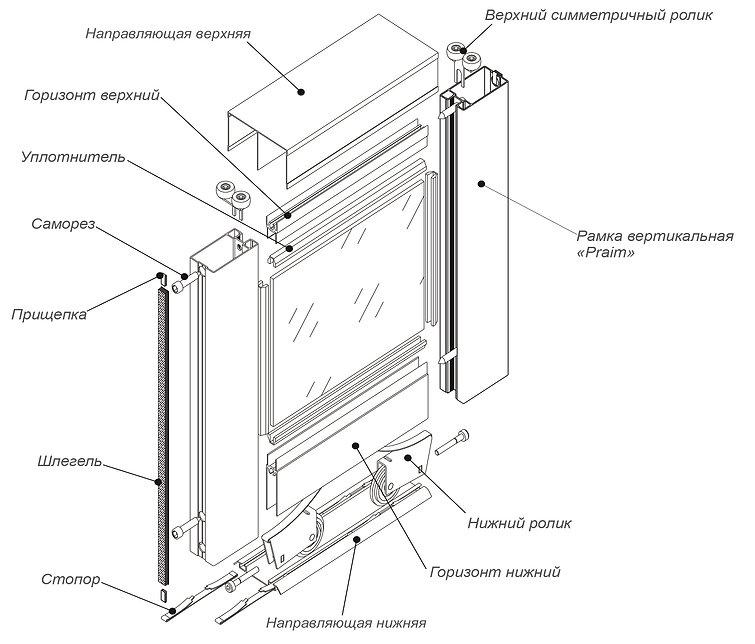 """Схема сборки раздвижных дверей из комплекта системы """"Praim"""""""