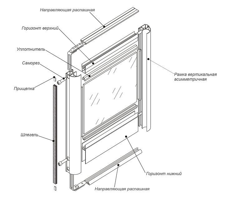 """Схема сборки распашных дверей из комплекта системы """"Standart"""""""