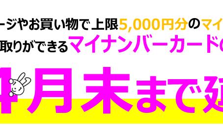 マイナンバーカード 5000円分のポイント付与、今月で終了!