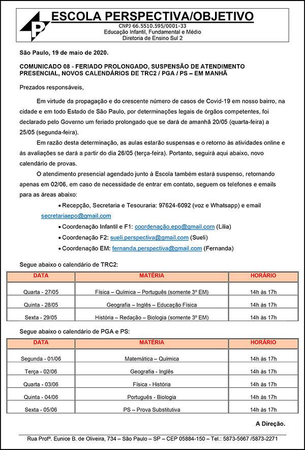 COMUNICADO 19-05-20 ENSINO MEDIO - MANHA