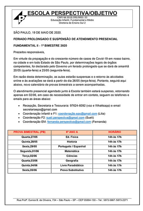 COMUNICADO 19-05-20 FUNDAMENTAL 2 - 6 a