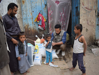 Families in Sana'a received food baskets