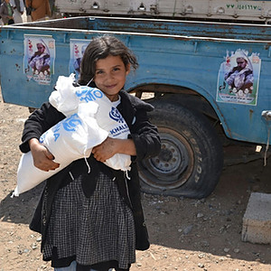 Food baskets funded by the UK based Charity Khalsa Aid provided to IDPs Sana'a